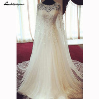 Vestido De Novia Реальный образец торжественное платье Кружева Аппликация Тюль Line Длинные рукава Свадебные платья невесты платья