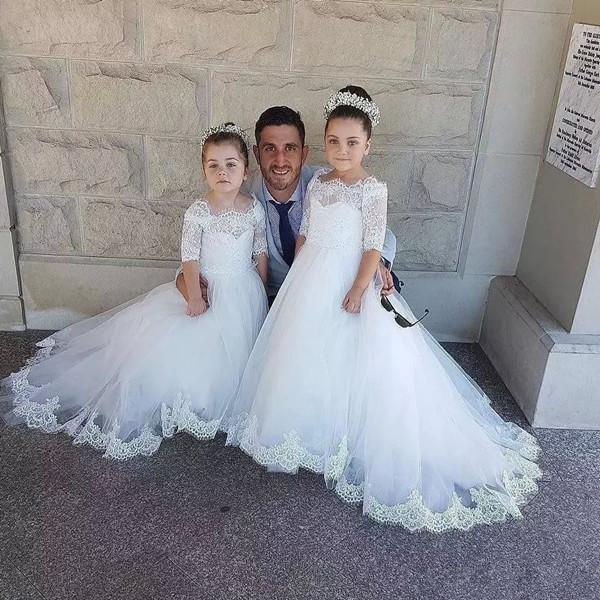 2018 Princess Flower Girl Dresses A Line Bateau 1/2 Sleeve Sweep Train Girls Pageant Dresses Lace Applique For Wedding духовой шкаф electrolux eob53434ax нержавеющая сталь