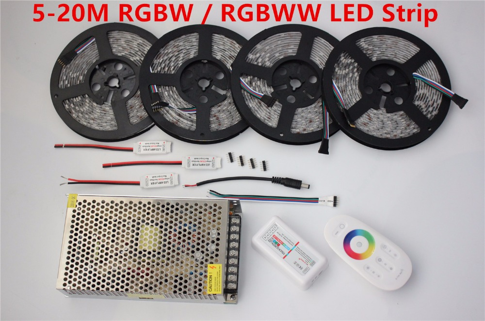20m LED Strip 5050 RGBW Waterproof 5m 10m 15m IP65 tape + 18A RF Remote controller + Power adapter + Amplifier Kit Free shipping