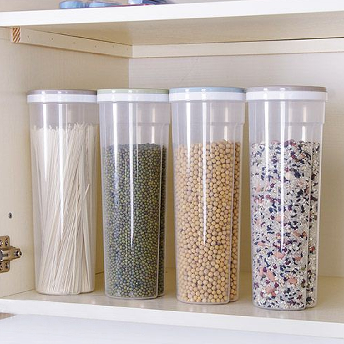 Kitchen Accessaries Noodle Bean Storage Holder Cereal Grain Box Food Container Utensils Control Hole