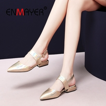 ENMAYER 2019 New Arrival Women Med High Fashion Pumps  Genuine Leather Pointed Toe Casual Shoes Size 34-41 LY1963