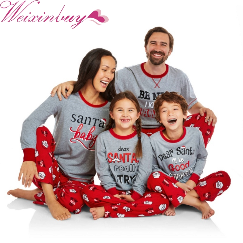 Family Christmas Outfits Pajamas Set Striped Clothes Parent-Child ...