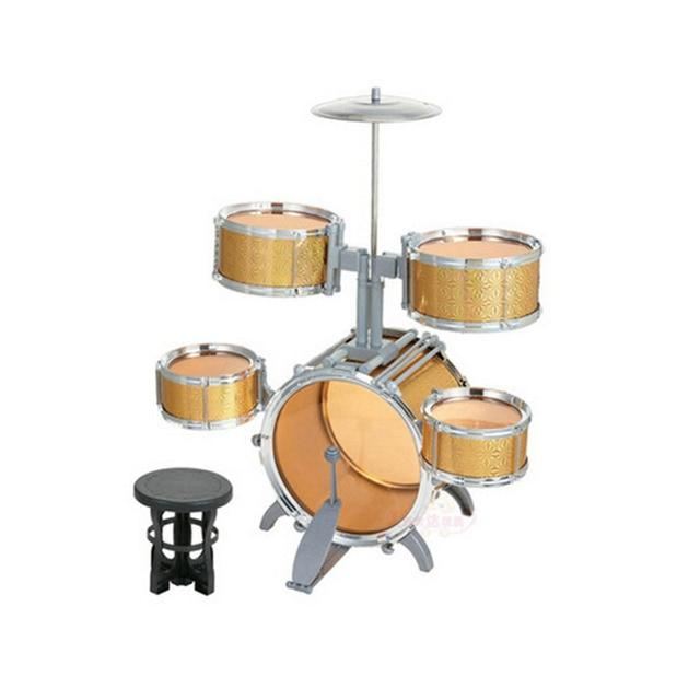 Drum Set Compact Size Children Kids Musical Instrument Toy 5 Drums