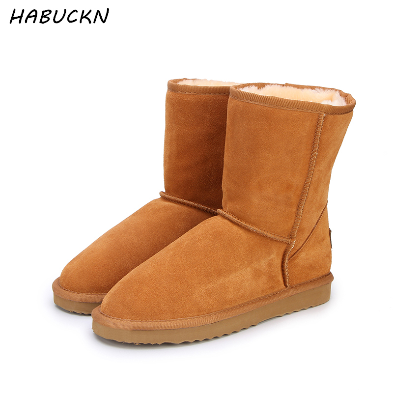 HABUCKN Genuine leather suede winter snow boots for women real sheep fur wool lined winter shoes high quality brown black