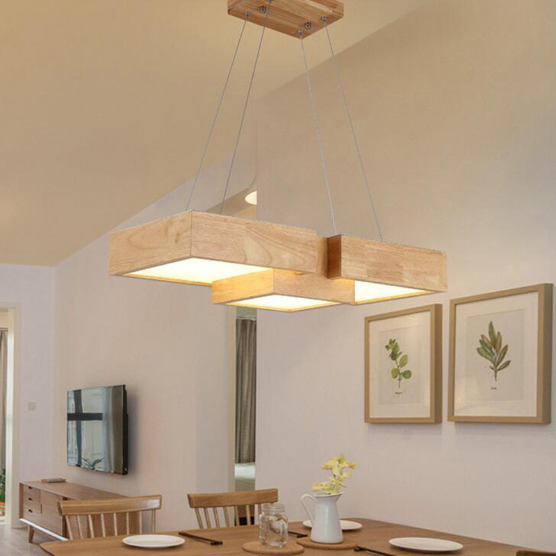 Restaurant chandelier wooden minimalist Nordic living room study bedroom bar Japanese-style LED solid wood office creative lamp scene nordic creative bar minimalist dining room bedroom retro american single head wood japanese clothing store chandelier