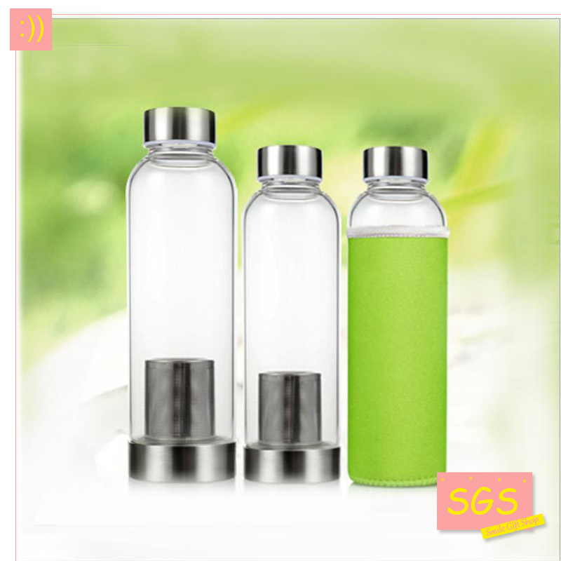 Modern Design Glass Sport Water Bottle with Tea Infuser Protective Bag 550ml Fruit Outdoor Eco-Friendly Free shipping with AIWIL