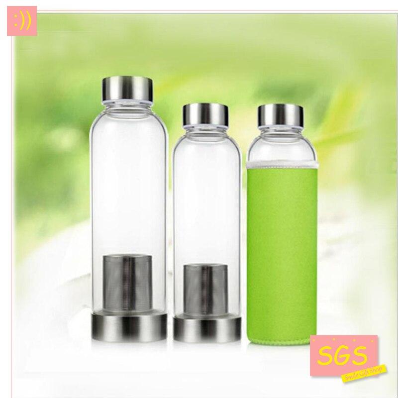Modern Design Glass Sport Water Bottle With Tea Infuser Protective Bag 550ml Fruit Outdoor Eco