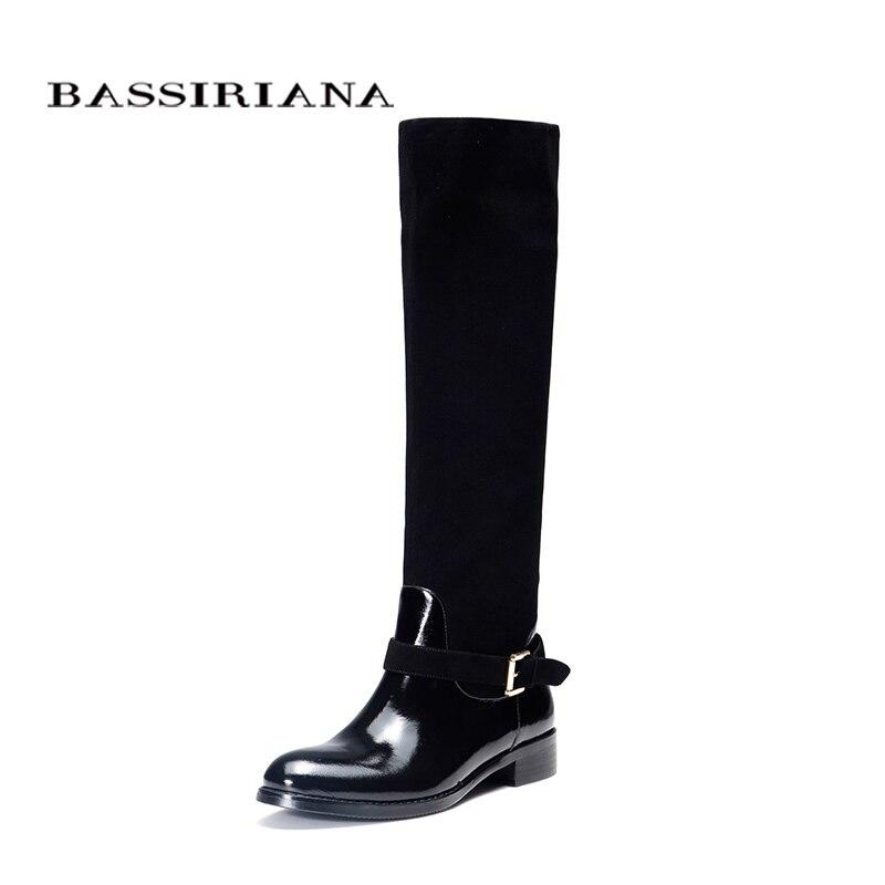 หนังรองเท้าฤดูใบไม้ร่วงฤดูใบไม้ผลิ2017รองเท้าผู้หญิง35 40สีดำหนังรองเท้าผู้หญิงจัดส่งฟรีBASSIRIANA-ใน รองเท้าบู๊ทสูงระดับเข่า จาก รองเท้า บน   1
