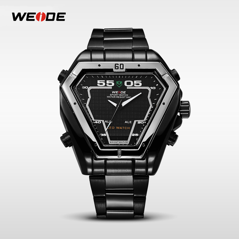 WEIDE Mens Dual Time Watches Luxury Watch Men Stainless Steel Quartz Watch Man Army Military Clocks Relogios Masculino WH1102 weide men sports watches waterproof military quartz digital watch alarm stopwatch dual time zones wristwatch relogios masculinos