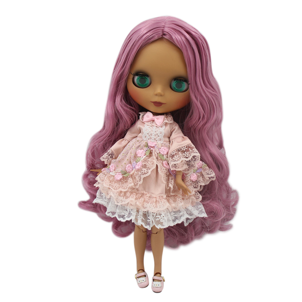 ICY Nude Factory Blyth doll Black Matte face Joint body 1 6 bjd Dark pink long