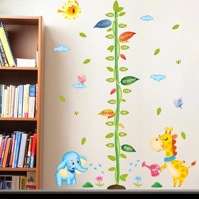 Foam Stickers Babykamer.Cute Giraffe Elephant Kids Height Wall Sticker Family Height Gauge