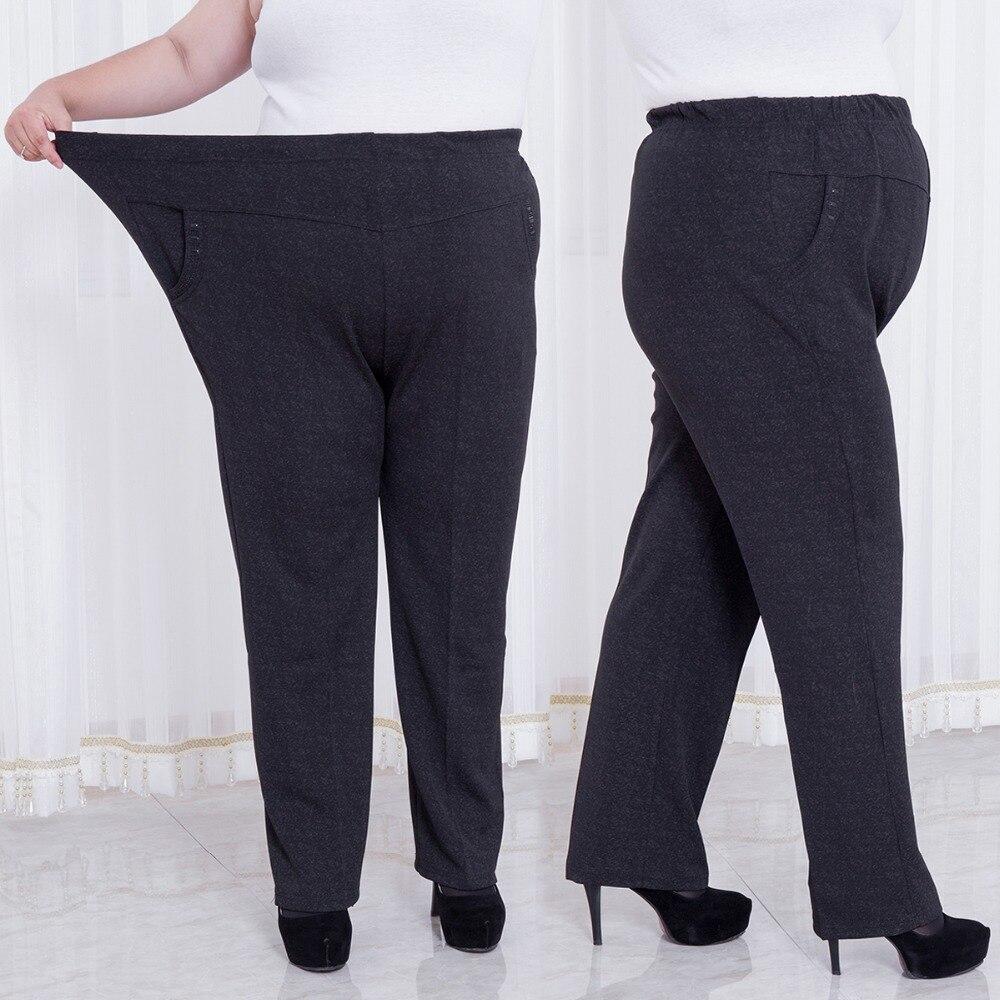 vente chaude en ligne a8587 fcfaf € 24.67 49% de réduction|Grandes femmes pantalons 2018 femmes hiver taille  haute pantalon droit dames travail porter noir Capris élastique Skinny ...