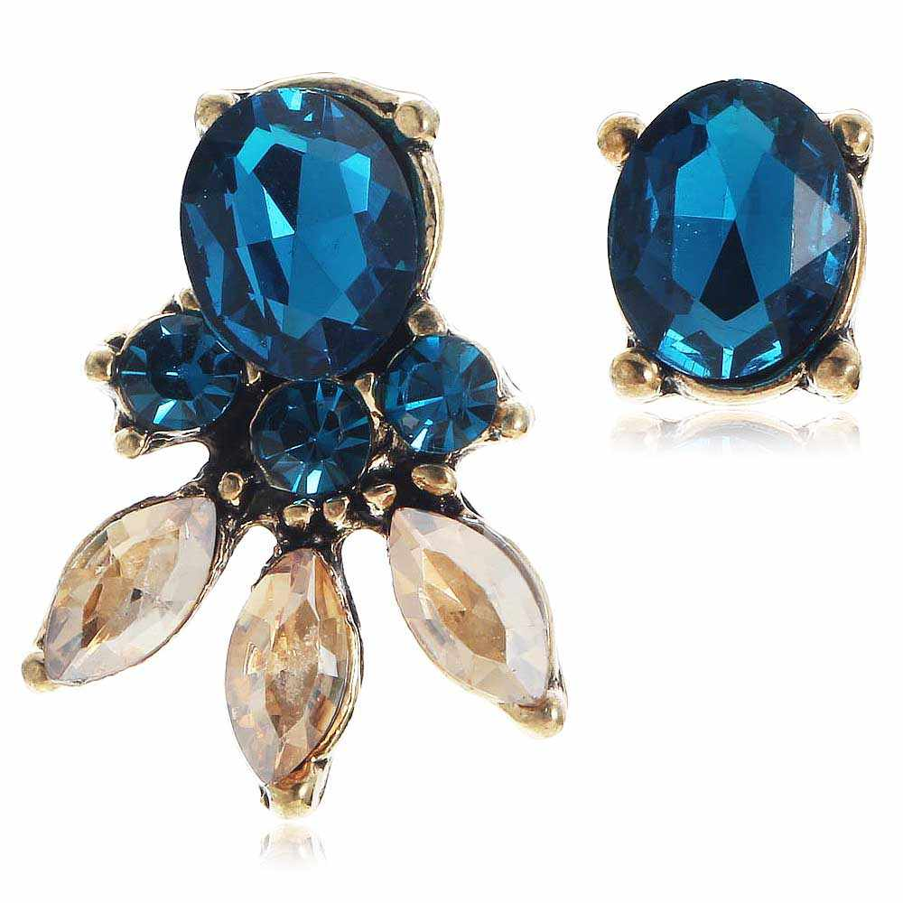 YaYi Blue Brown Glass Rhinestone Dangle Earring Women's Fashion Ancient Gold Gem Earrings For Women E1106