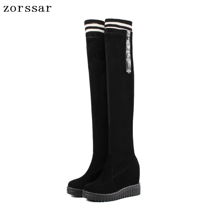 {Zorssar} 2018 women winter boots suede Leather height increasing women shoes high heel Over the knee boots Platform wedge boots{Zorssar} 2018 women winter boots suede Leather height increasing women shoes high heel Over the knee boots Platform wedge boots