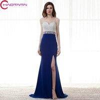 새로운 연인 로얄 블루 이브닝 드레스 긴 화이트 스파게티 스트랩 크리스탈 파란색 정장 드레스 슬릿