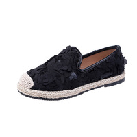 Canvas shoes female 2019 spring summer small white shoes set flowers lace straw fisherman flat shoes