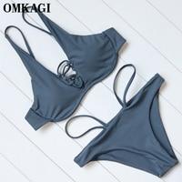 OMKAGI Brand Brazilian Bikini 2017 Solid Swimsuit Swimwear Women Sexy Bandage Push Up Bikinis Set Swimming