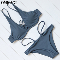 OMKAGI Brand Brazilian Bikini 2017 Solid Swimsuit Swimwear Women Sexy Bandage Push Up Bikinis Set Swimming