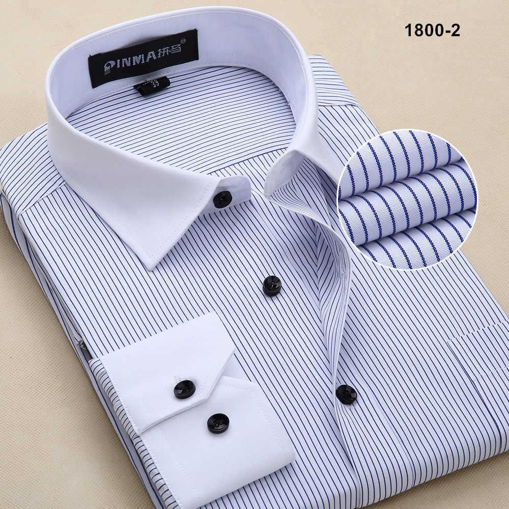 Новое поступление, брендовые высококачественные мужские полосатые рубашки с длинным рукавом, мужские деловые официальные рубашки, рубашки для мужчин - Цвет: 18002