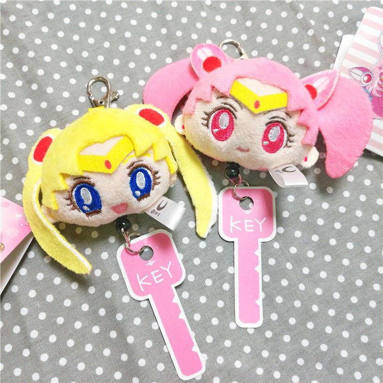 Sailor Moon 2pcs Anime Stretch Key Chains Cosplay Plush Keychains Tsukino Usagi Cosplay Key Chain Ring Charms Pendant for Women