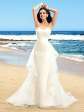 Dazzling Strapless Ruffles Tulle Ivory Mermaid Wedding Dresses Vestido De Novias Elegant Long Dress robe de mariee