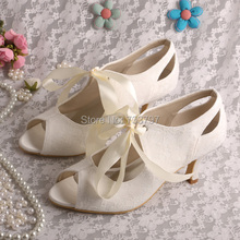 Wedopus шнуровке Дамы Джейн Обувь Свадебные Peep Toe Свадебные Каблуки Пользовательские Ручной Корабль Падения