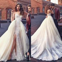 2016 Galia Lahav Wedding Dresses with Detachable Skirt Sweetheart Sweep Train Custom Lace Bridal Gowns Vestidos
