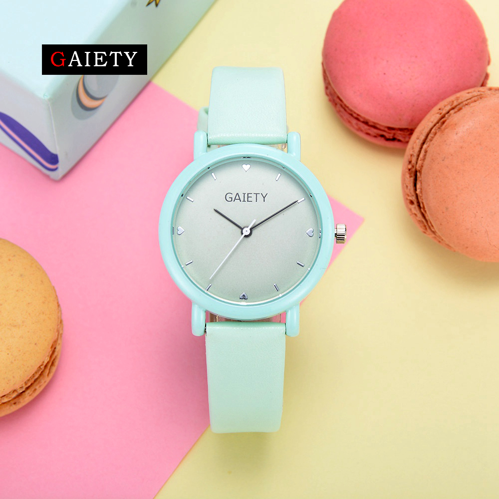 mingtuo new fashion dress watch green and red color leather bracelet women watch round minimalist ladies quartzwatch 30 Gaiety Women Brand Leather Watches Fashion Mint Green Macaron Simple Dress Bracelet Wrist Watch Ladies Sport Casual Watch 2017