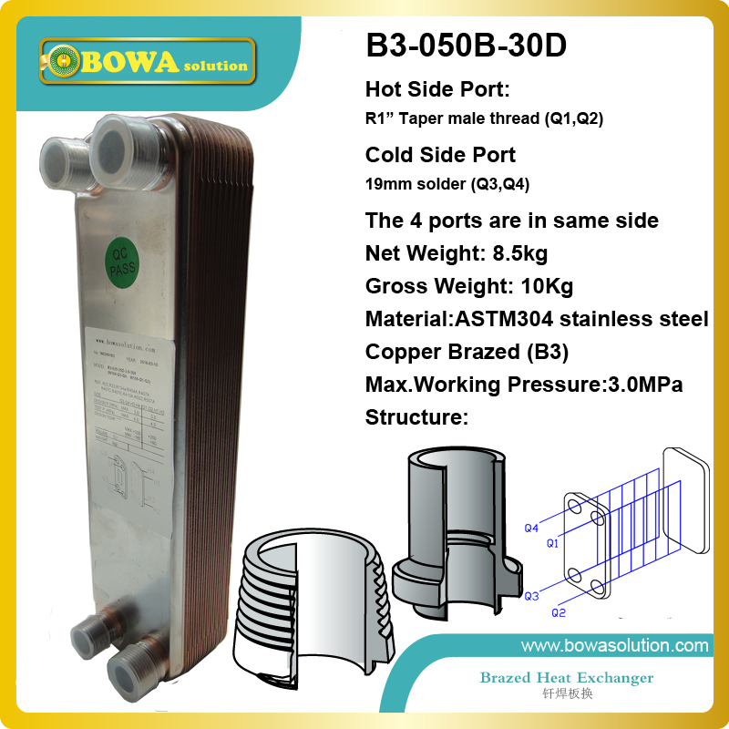 B3-50-30 brazed plate heat exchanger is the ideal choice for chillers, heat pumps, economizers, desuperheaters b3 50 34 brazed plate heat exchanger 4 5mpa is for r410a water air source heat pump and numerous other applications
