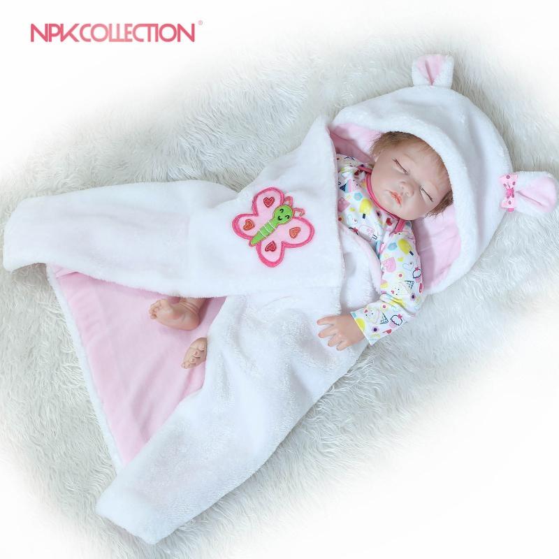 NPKCOLLECTION 55CM Silicone Reborn Baby Doll Soft Realistic Bebe Girl Dolls Alive Real Baby Lifelike Birthday