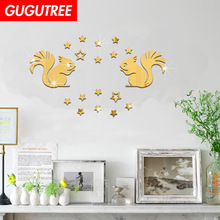 Decorate 3D squirrel star art wall mirror sticker decoration Decals mural painting Removable Decor Wallpaper LF-1365