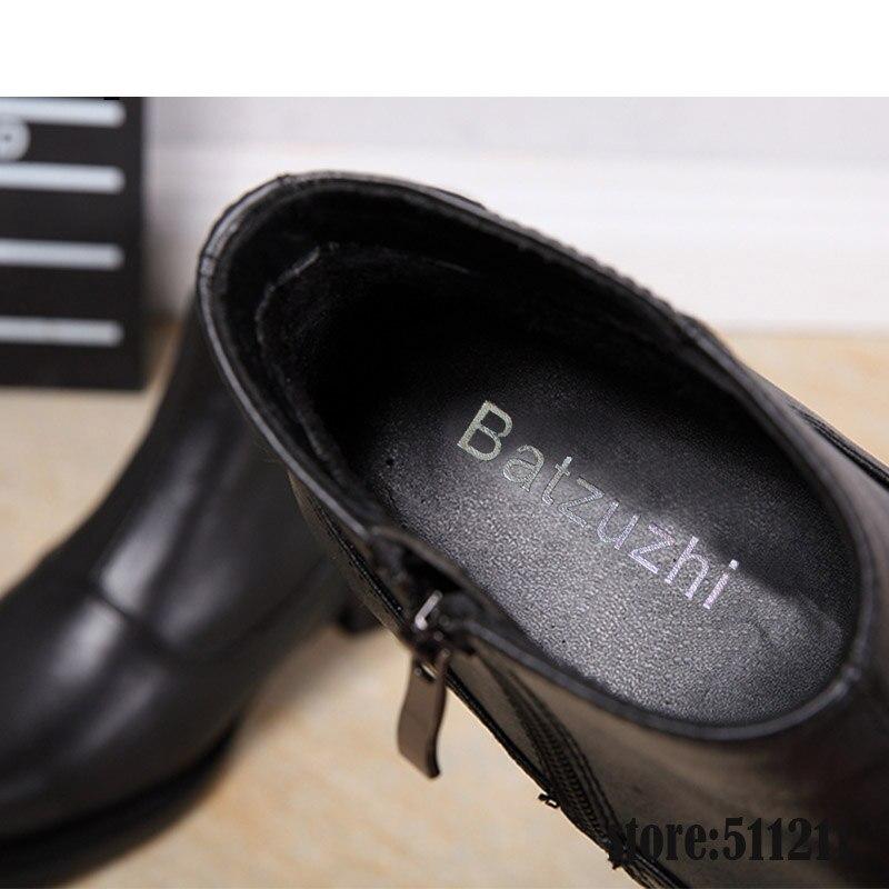 US $87.75 35% OFF|Batzuzhi 6,8 cm Heels Schwarz Männer Stiefel Leder Mode Britischen Stil männer Oxfords Stiefel Runde Kappe Platz High Heels