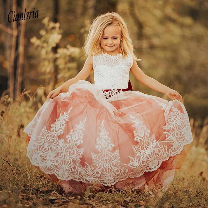Vintage Puffy Tulle   Flower     Girl     Dress   with Bow Keyhole Lace up Back Sparkly Crystals Custom Made Princess   Dress   New Arrivals