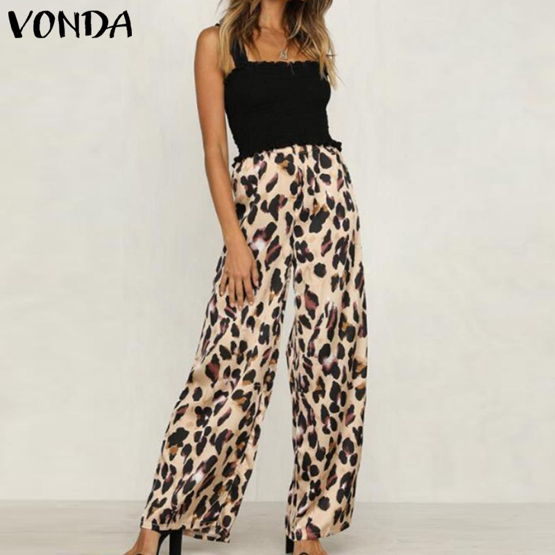 VONDA 2019 Women High Waist   Wide     Leg     Pants   Sexy Leopard Print Trousers Office Lady Work   Pants   Casual Loose Long Trousers 5XL