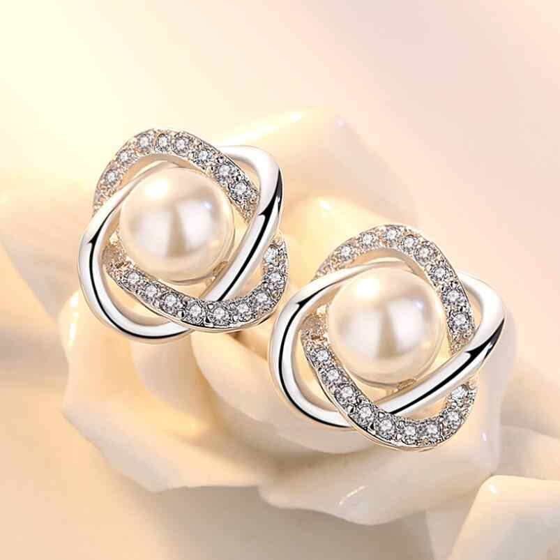 New Hot Pearl Zircon Geometric Twist Stud Earrings For Women 925 Sterling Silver Jewelry Pendientes Statement Earrings SAE9
