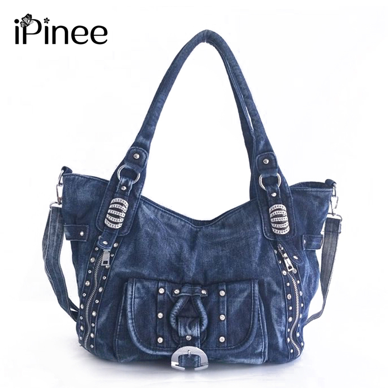 iPinee High Quality Denim Women Handbag Casual Large Capacity Hobos Bag Hot Sell Female Totes Bolsas Shoulder Bag 2017 fashion canvas women handbag hot sell female tote bolsas trapeze ruched solid shoulder bag casual large capacity tassel bag