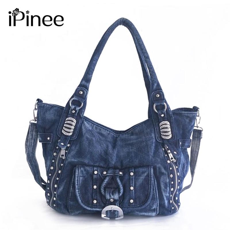 IPinee High Quality Denim Women Handbag Casual Large Capacity Hobos Bag Hot Sell Female Totes Bolsas Shoulder Bag