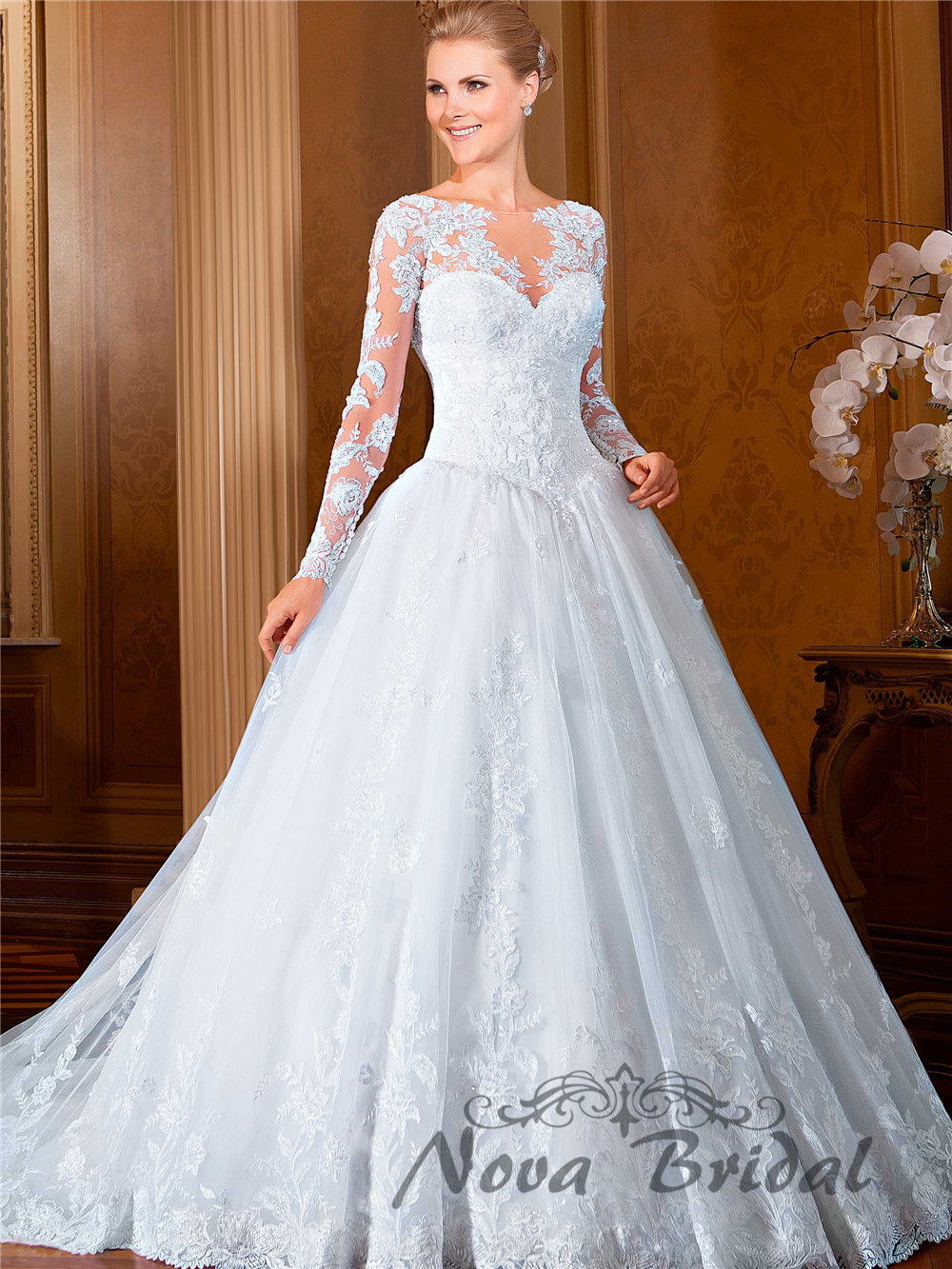 2015 New Design Ball Gown Lace Beading Luxury Bride Gowns Long ...