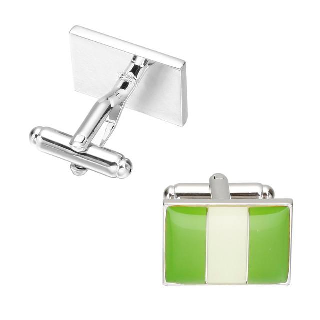 Memolissa Men's Cuff-links Shirt Jewelry Enamel Trendy Square Green White National Flag Cuff Links