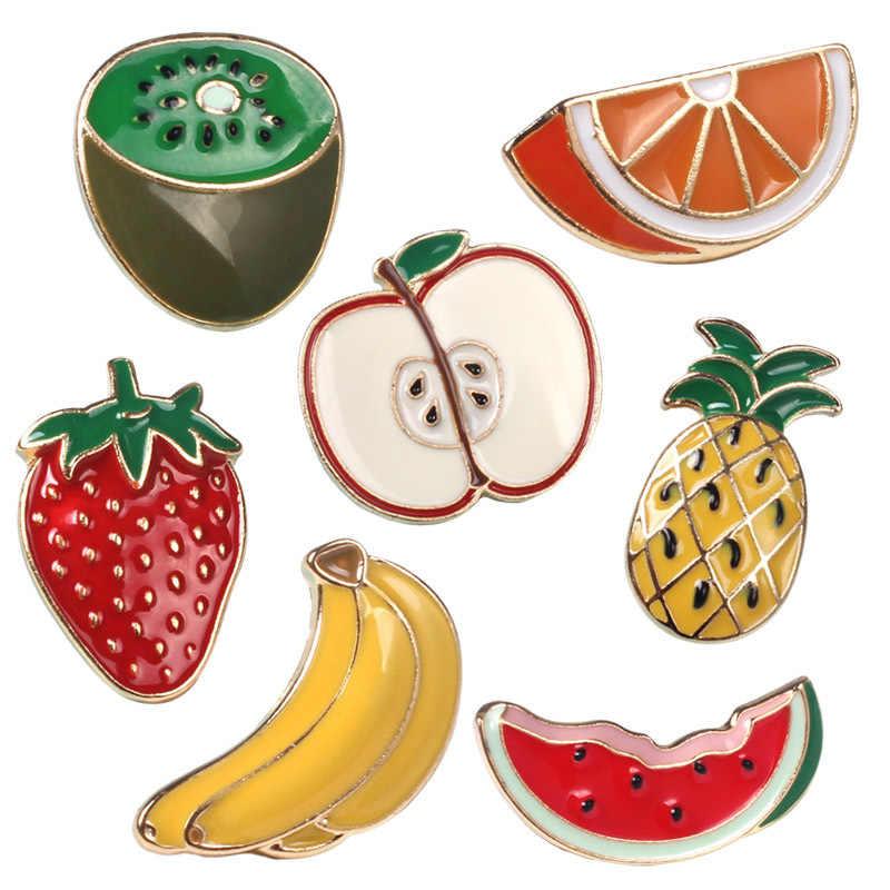 Cute cartoon spilla kiwi arance apple fragola ananas banane anguria frutta smalto spille in metallo pin button distintivo jeans