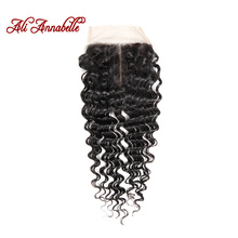 ALI ANNABELLE HAIR Middle Part Lace Closure Brazilian Remy Hair Deep Wave Human Hair Natural Color 10-20 Inch Free Shipping