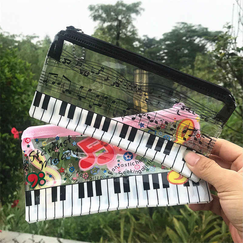 Coloffice Music Pencil Case Music Stationery Note Keyboard Plastic Transparent Pencil Bag student Stationery Office Supplies 1PC