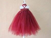 Borgoña vino rojo centro perla flor vestido del bebé, recién nacido, muchachas de los niños del bowknot de la princesa