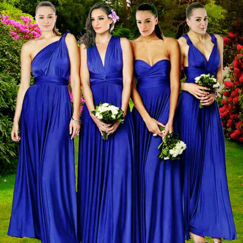 2016 Summer Y Royal Blue Multiway Bridesmaids Convertible Dress Women Wrap Maxi Long S Robe Longue Femme In Dresses From