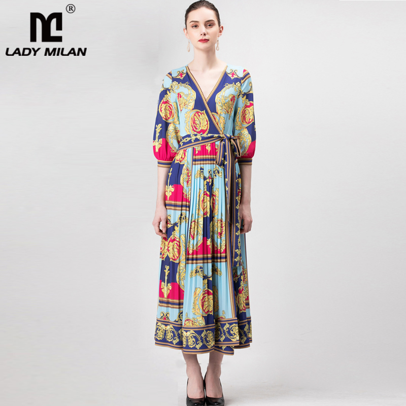 Lady Milan 2019 Women s Runway Dresses Sexy V Neck 3 4 Sleeves Pleated Printed Sash