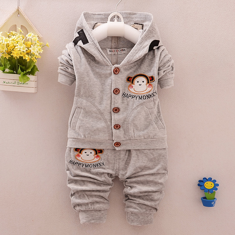 Baby Boys Clothing Sets Velvety Outerwear Costume Winter Kids Clothes Monkey Coat + Pants Sport Suit Winter Infant Tracksuit Set