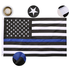 150*90 cm Subdued Thin Blue Line Stripes USA Flags grommets , Police ,Cops ,Black, White, Drop Shipping