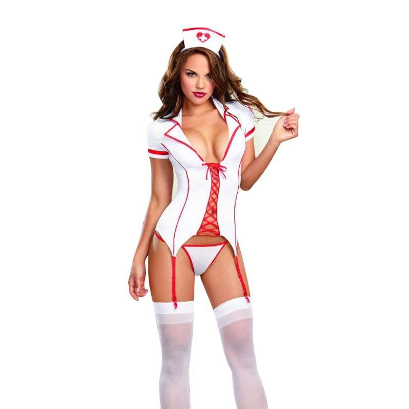 Women Fantasias Sexy Erotic Lingerie Hot Sexy Nurse Costumes Uniform Hat+ Cost+Panty Garter Belt Dress