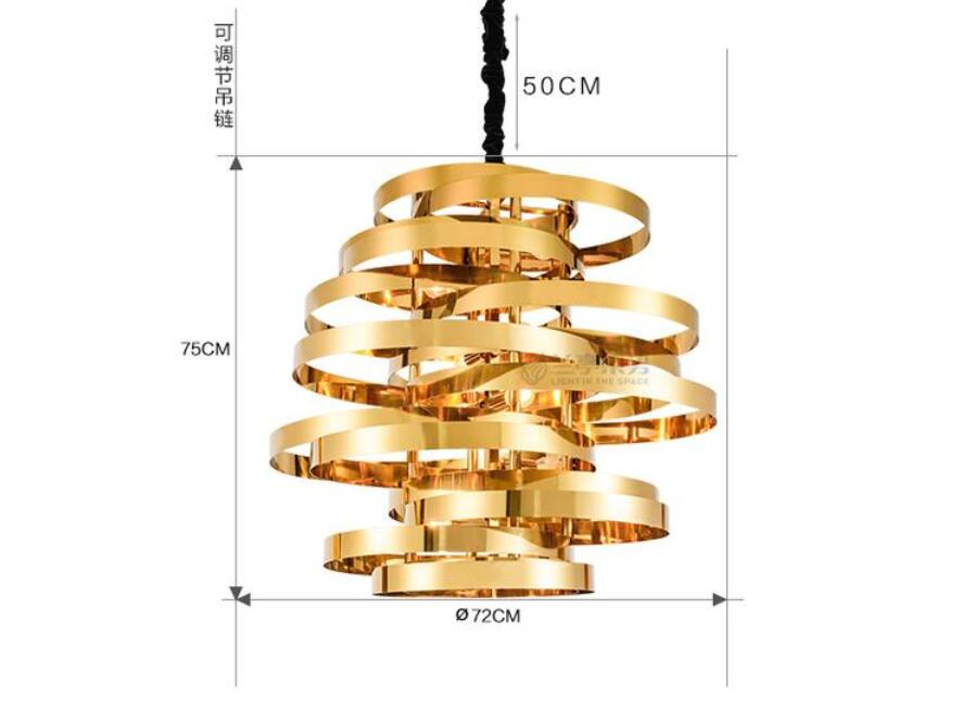 Modern stainless steel led pendant lamp gold individuality creative - Indoor Lighting - Photo 3