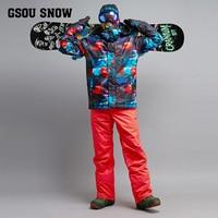GSOU SNOW Men's Skiing Suit Winter Outdoor Waterproof Warm Windproof Ski Jacket +Ski Trousers For Men Size S XL
